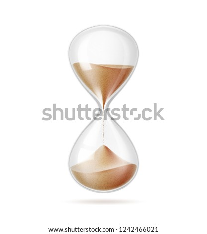 Realistic hourglass closeup. Vector sandglass on isolated background. Vintage clock, 3d classic interior object, symbol of time management. Detailed illustration