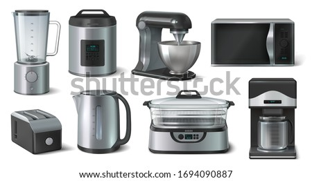 Realistic household. Blender microwave electric kettle and other kitchen appliances. Vector 3D set kitchen interior equipments for householder cooking isolated on white background