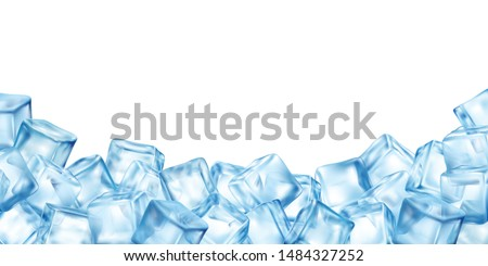 Realistic ice cubes blocks composition with empty space surrounded by bunch of colourful ice cube images vector illustration