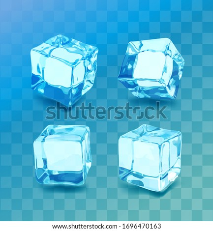 Realistic ice cubes set. Blue ice collection, isolated, refresh, transparent background.