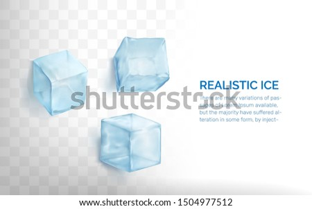 Realistic ice cubes set. Vector Illustration