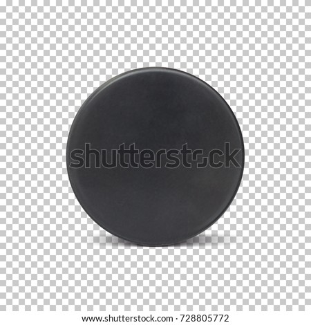 Realistic ice hockey puck isolated on transparent background. Vector illustration.