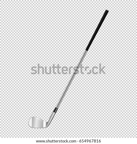 Realistic icon of classic golf club isolated on transparent background. Design template closeup in vector.