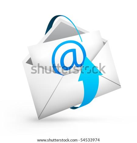 Realistic illustration an envelope. A vector white envelope whit arrow