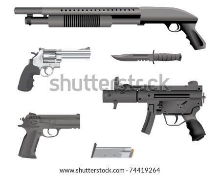 realistic illustration guns equipment - isolated