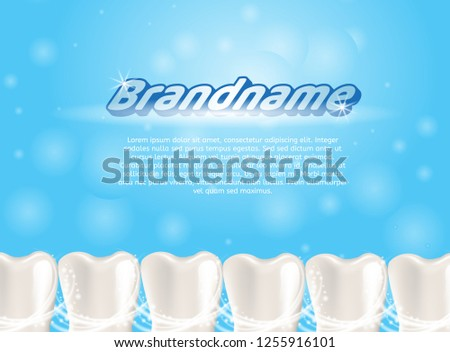 Realistic Illustration Healthy Teeth in 3d Vector. Banner Image Advertising Brandname, Mean Caring Oral Cavity. Lower Row Teeth Human Jaw. Teeth Whitening. Isolated on Blue Background