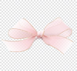 Realistic illustration in vector. 3D pink transparent bow with gold border. Isolated on a transparent background. Element for decorating gifts, creating holiday cards. Feminine and elegant. EPS10