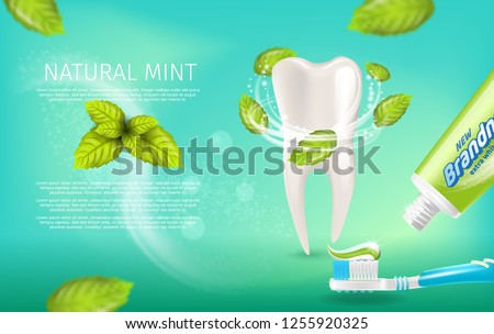 Realistic Illustration Natural Mint Toothpaste. Banner Vector Image 3d Snowwhite Bleached Healthy Tooth with Mint Leaves. Toothbrush with Paste Brandname. Freshness Oral Cavity. on Green Background
