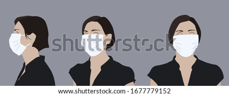 Realistic illustration of a young woman wearing a medical mask, side and front view Сток-фото ©