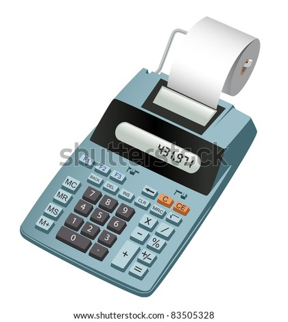 Realistic illustration of an electronic calculator with paper roll. Isolated on white