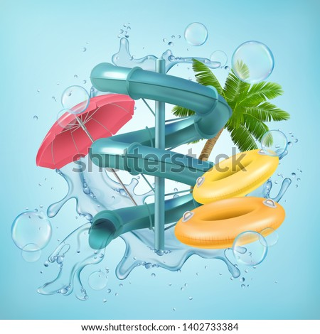 Realistic illustration of 3d water slides Vector Illustration of Waterpark with pool aquapark aqua park splash umbrella bubbles and  beach  palm lifebuoy ring. EPS 10
