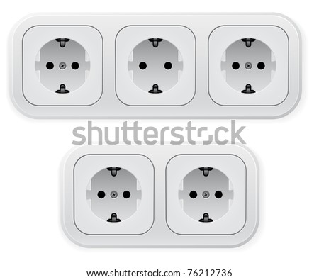Realistic illustration of different forms outlets. Vector illustration on white background