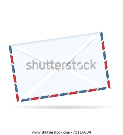 Realistic illustration of envelope of post isolated on white background - vector - stock vector