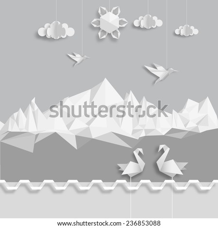 Realistic illustration, of origami clouds, birds and sun. Vector EPS 10