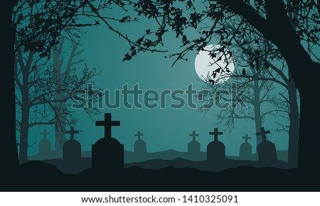 Realistic illustration of spooky landscape and forest with dead and dry trees, cemetery with tombstones and full moon on night green sky. Suitable as a card for Halloween - vector