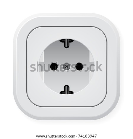 Realistic illustration power outlet. Vector illustration on white background