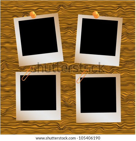 Realistic illustration set of three  photo frames in vector format tapping with metal paperclip on wooden floor.