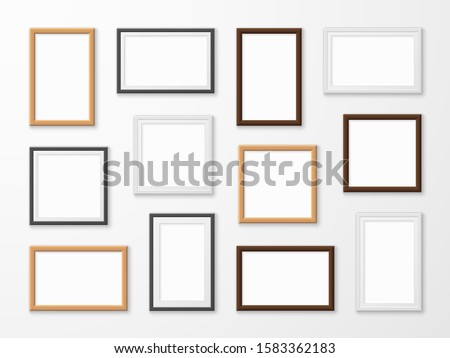 Realistic image frames. Picture frame in different colors, hanging blank pictures on gallery wall of modern interior lighting framing templates vector set