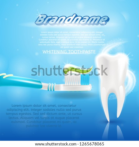 Realistic Image Healthy Tooth and Toothpaste in 3d. Banner Vector Illustration Clean, Snowwhite Healthy Tooth on Background Whitening Toothpaste Brandname on Toothbrush. Freshness Oral Cavity.