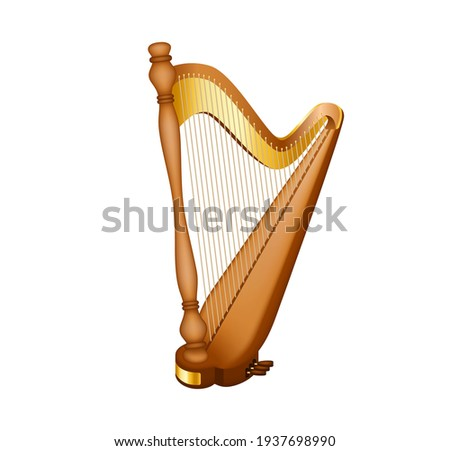 Realistic image of the concert harp. National Irish string musical instrument. Classic musical string instrument, as well as a symbol of celebrations of traditional events. Stock photo ©