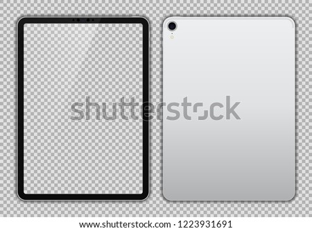Realistic 11 inch Scalable Drawing Pad. Silver / White Tablet. Transparent Screen Isolated. Front and Back Display View. High Detailed Device Mockup. Separate Groups and Layers. Easily Editable Vector