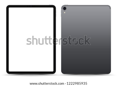 Realistic 11 inch Scalable Tablet. Grey / Space Gray Drawing Pad. Blank Screen Isolated. Front and Back Display View. High Detailed Device Mockup. Separate Groups and Layers. Easily Editable Vector.