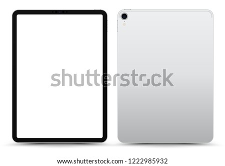 Realistic 11 inch Scalable Tablet. Silver / White Drawing Pad. Blank Screen Isolated. Front and Back Display View. High Detailed Device Mockup. Separate Groups and Layers. Easily Editable Vector.