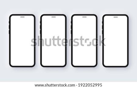 Realistic iPhone Mobile Phone Neomorphism Template Mockup Vector. Black 3D Front Design