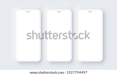 Realistic iPhone Mobile Phone Neomorphism Template Mockup Vector. White 3D Front Design