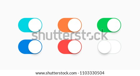 Realistic iphone switch toggle buttons, set sliders in ON position blue, orange, red, green and in OFF white color. Vector illustration. EPS 10