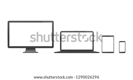 Realistic isolated set of device frames | Desktop monitor, laptop, tablet and smartphone | Transparent screens | Vector illustration