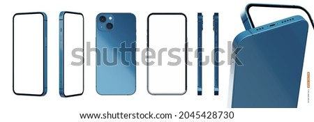 Realistic isolated smartphone mockup vector set