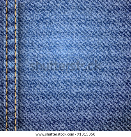 Realistic jeans texture pattern. Vector illustration. - stock vector