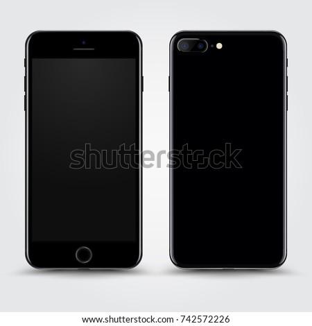 realistic jet black smartphone