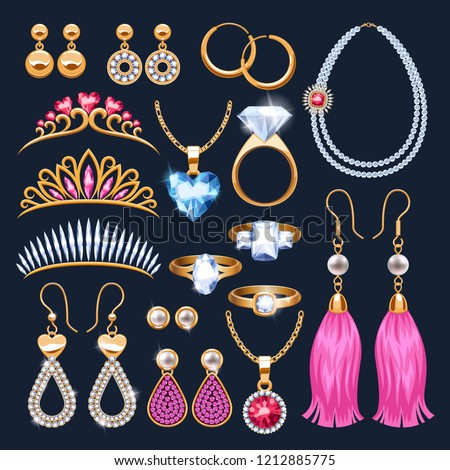 Realistic jewelry accessories icons set. Tiaras and rings. Gold and diamond pearl gemstones pendant and necklace vector illustration. Stud hoop drop dangle earrings designs.