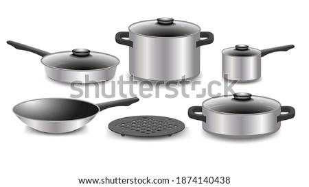 Realistic kitchen utensils and dishes. Set of steel cookware on a white background. Vector illustration isolated. A set of kitchen tools, a frying pan, pots of different sizes, a hot plate. Foto stock ©