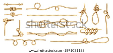 Realistic knots. Rope nodes and round cord threads. Isolated marine twisted loop. Collection of braided twines from hemp fibers. Yellow sailor cables with nooses. Decorative template, vector set