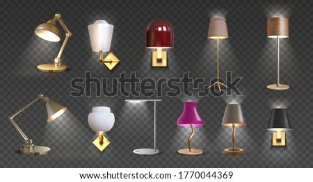 Realistic lamp. Home floor and desk 3D light furniture, closeup render of torchere and light furniture for interior design. Vector isolated set metal decoration luxury lights for home or office Photo stock ©