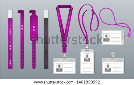 Realistic lanyard badge. Identity card mockup, event and festival ribbon access pass, accreditation ID. Vector design card holder
