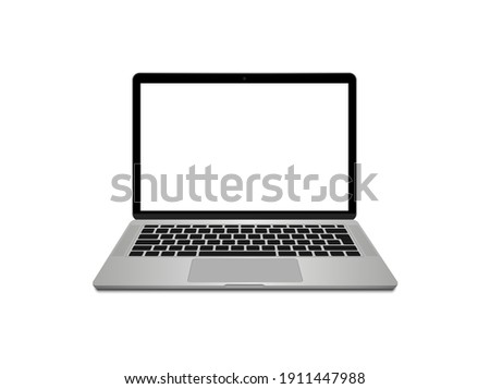 Realistic laptop front view. Laptop modern mockup. Blank screen display notebook. Opened computer screen with keyboard. Smart device.