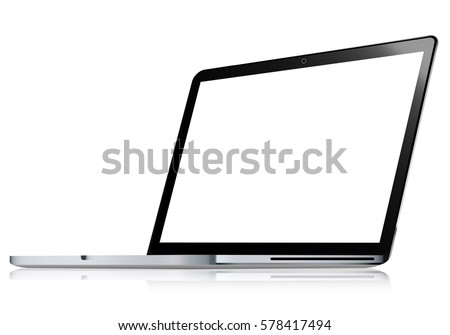 Realistic laptop isolated on white background incline 120 degree. computer notebook with empty screen. blank copy space on modern mobile computer.