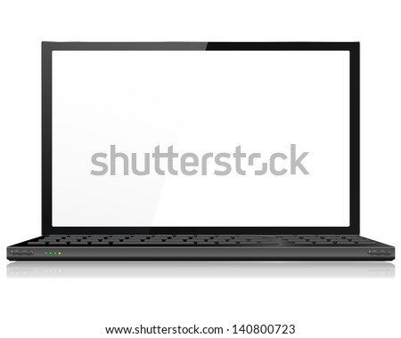 Realistic Laptop or Notebook Computer in Black - Vector with grouped items, named layers and with a separate layer to easily add your own image to laptop screen