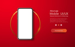 Realistic layout of the phone. Blank screen of a smartphone, the layout of the phone. Template for infographics or presentation UI design interface. Phone on the background of the golden circle.