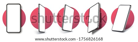 Realistic layout of the smartphone in different positions. Mobile phone frame with blank display isolated templates, phone of different types and different angles. 3D/UX template vector illustration