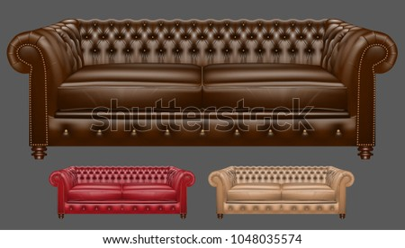 realistic leather couch vector