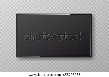 Realistic led TV screen on transparent background. Modern smart stylish lcd panel. Large computer monitor display. TV mock up for your design, web site. Vector illustration