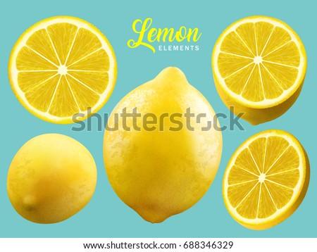 realistic lemon elements