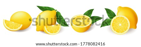 Realistic lemon with green leaf whole and sliced set, sour fresh fruit, bright yellow peel, set of lemons vector illustration isolated on white background