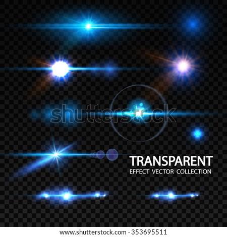 Realistic Lens Flare Elements Collection. Light Effect Transparent Design. Vector illustration