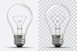 Realistic light bulb. Electricity. Vector illustration isolated on a white and transparent background.